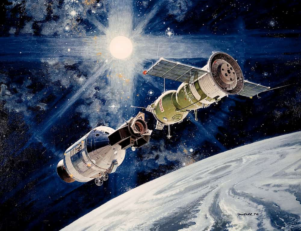 Impresión artística de ambas naves acopladas en órbita – NASA/Robert McCall
