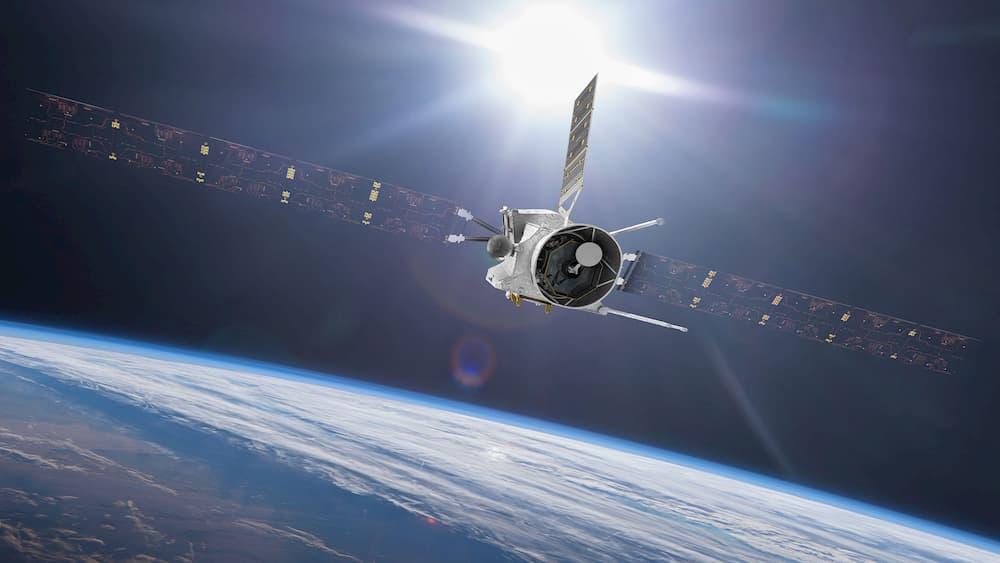 Impresión artística de la misión durante su sobrevuelo de la Tierra - ESA