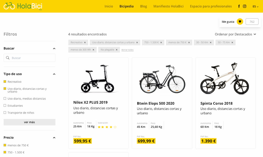 La Bicipedia: un gigantesco buscador comparativo de bicicletas eléctricas