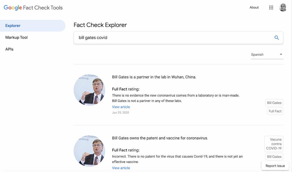 Bill Gates @ Google Fact Check Explorer