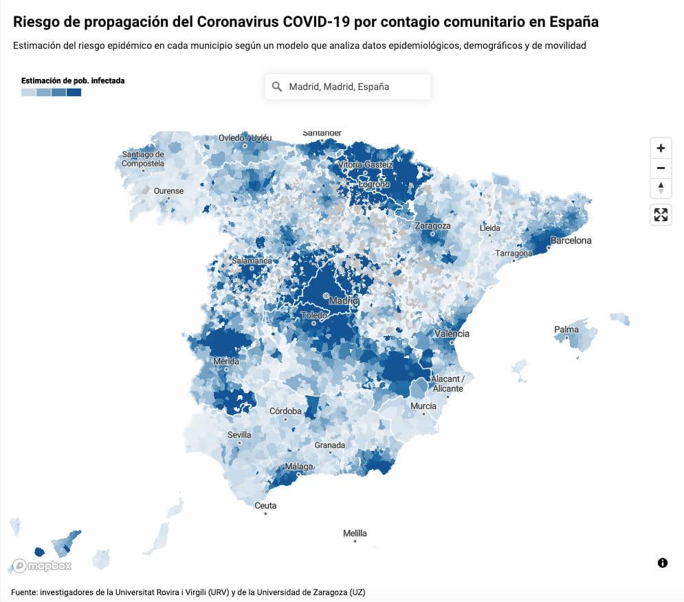 Mapa del riesgo de propagación del coronavirus COVID-19 por municipios en España / ElDiario.es