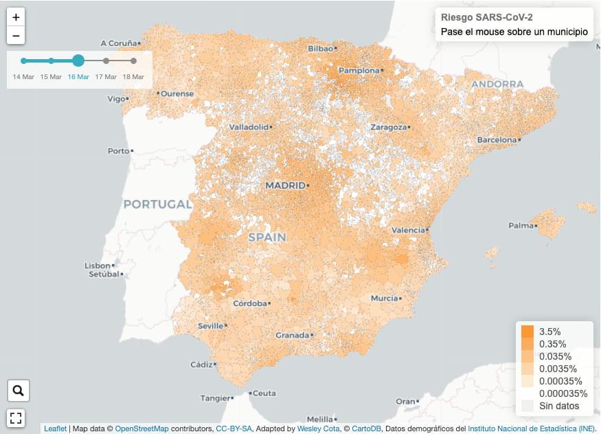 Mapa de riesgo de propagación de COVID-19 por contagio comunitario en España / URV.cat