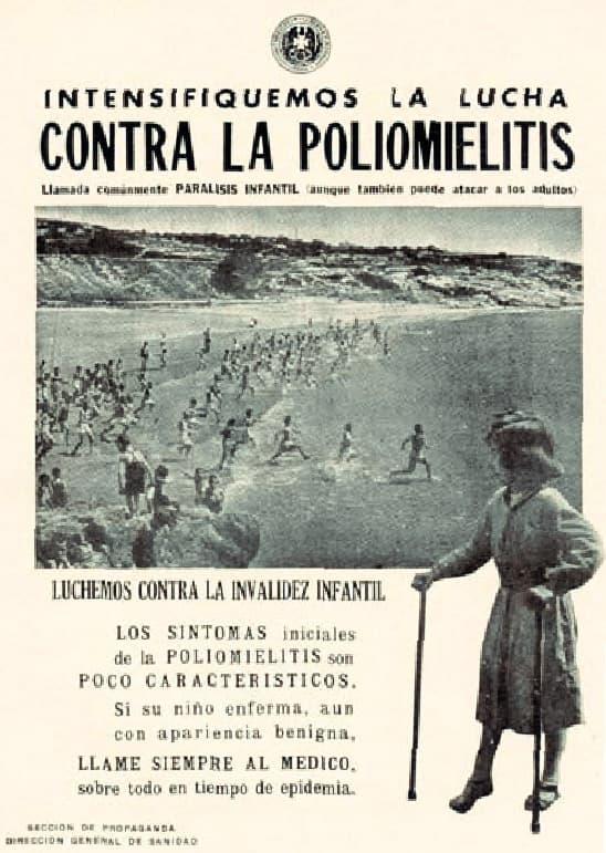 Cartel de aviso contra la polio en España de 1953