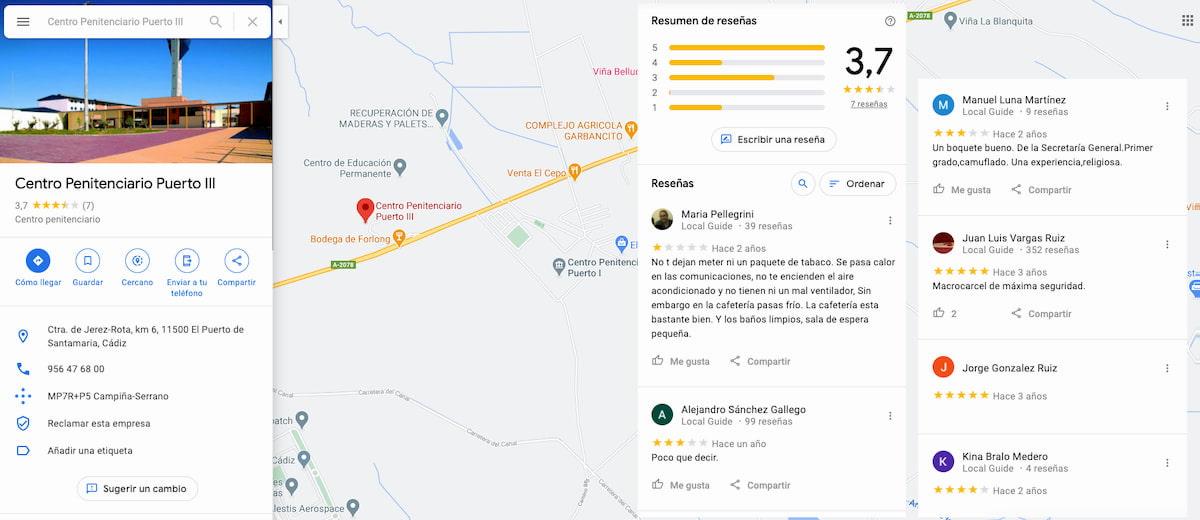 Google Maps: Reseñas - Centro Penitenciario Puerto III