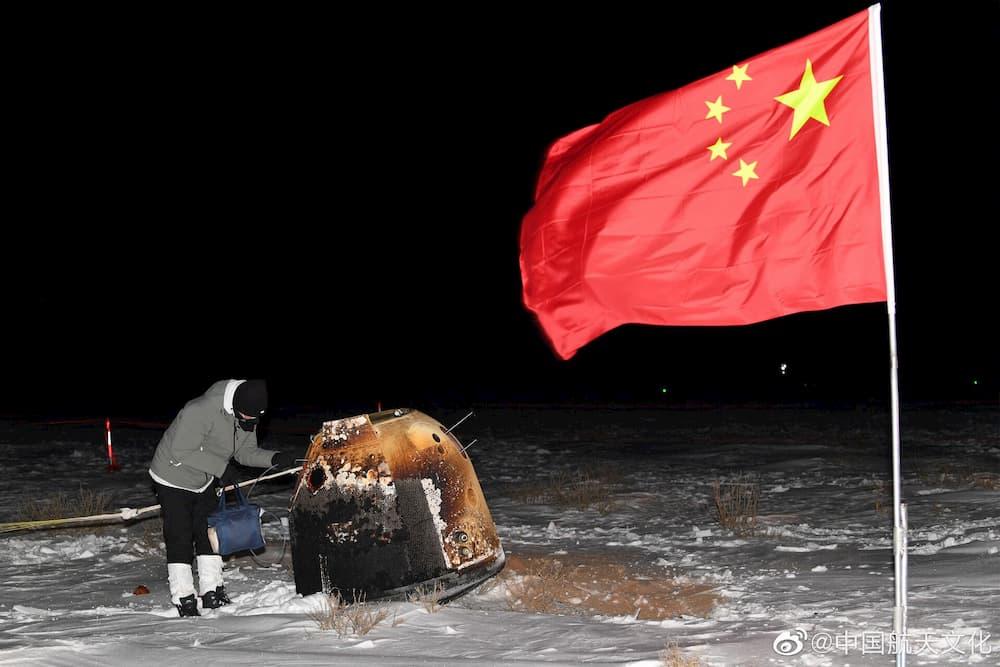 La cápsula en tierra – Programa Chino de Exploración Lunar (CLEP)