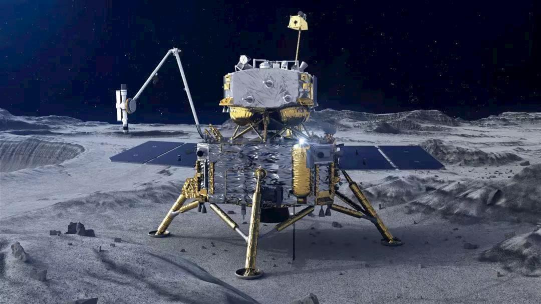 Impresión artística del aterrizador de Chang'e 5 sobre la superficie de la Luna – China Lunar Exploration Project