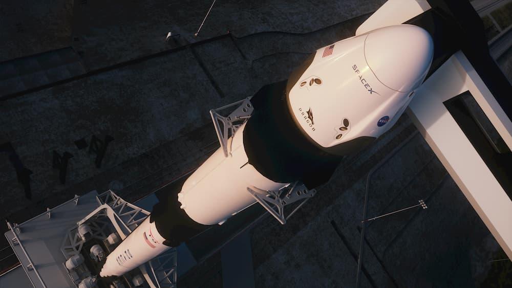 Impresión artística del cohete y la cápsula en la plataforma de lanzamiento - SpaceX