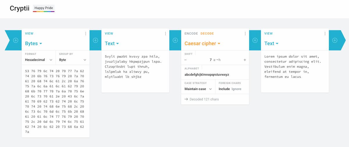 Cryptii: sistemas de cifrado, codificación y transformación de textos reunidos en una sola página interactiva