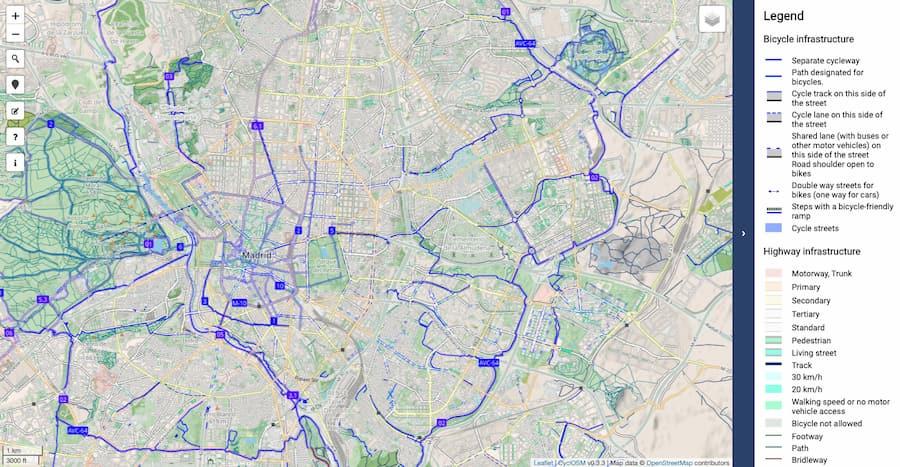 CyclOSM es un mapa para bicicletas con datos de OpenStreetMap