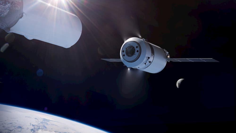 Impresión artística de una Dragon XL en órbita terrestre – SpaceX