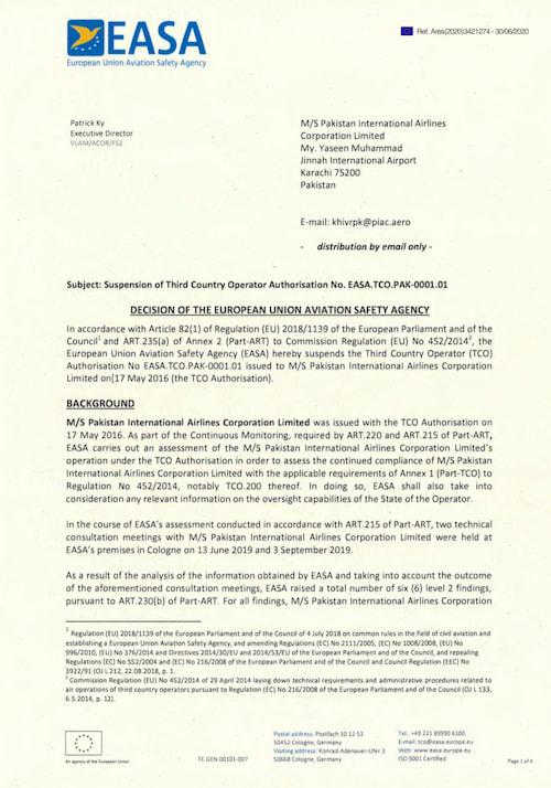 Primera página del comunicado de la EASA a Pakistan International Airlines - EASA