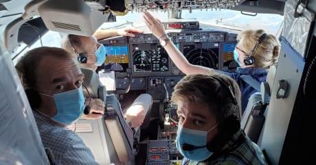 Interior de la cabina durante los vuelos de prueba