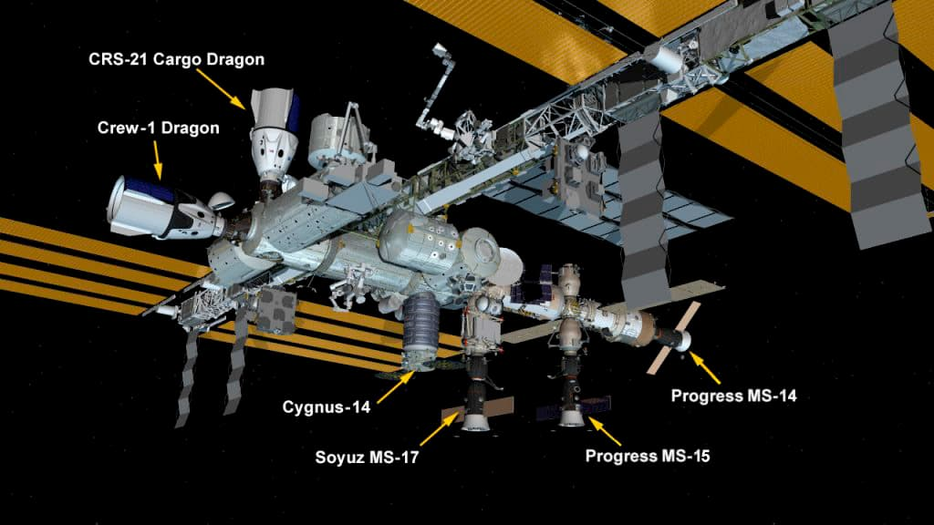 Configuración de la EEI tras la llegada de la Dragon 21 – NASA