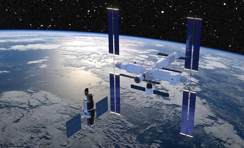Impresión artística de la estación espacial en órbita - CAST