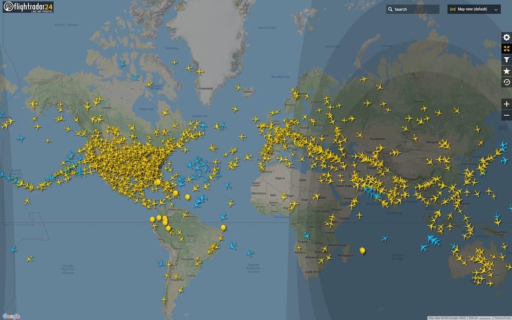 Tráfico aéreo en el mundo el 24 de marzo de 2020 a las 18:30
