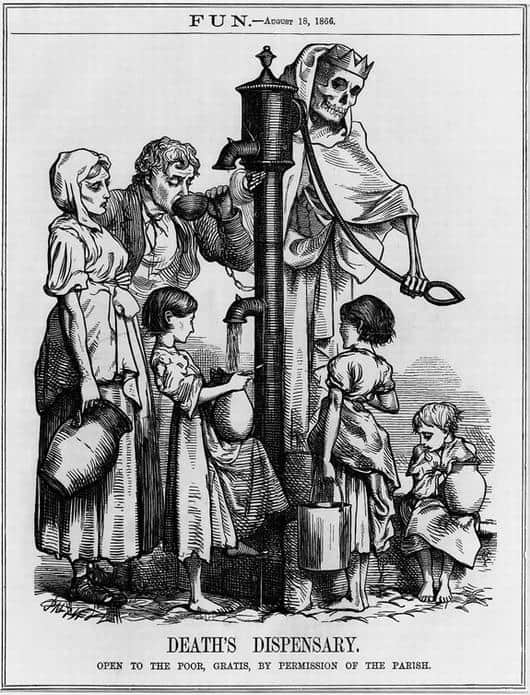 La fuente de Broad Street en una ilustración de la época