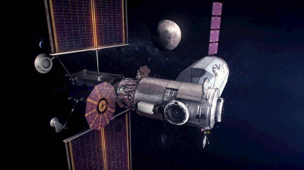 Impresión artística de la estación Gateway con una cápsula de carga acoplada – NASA