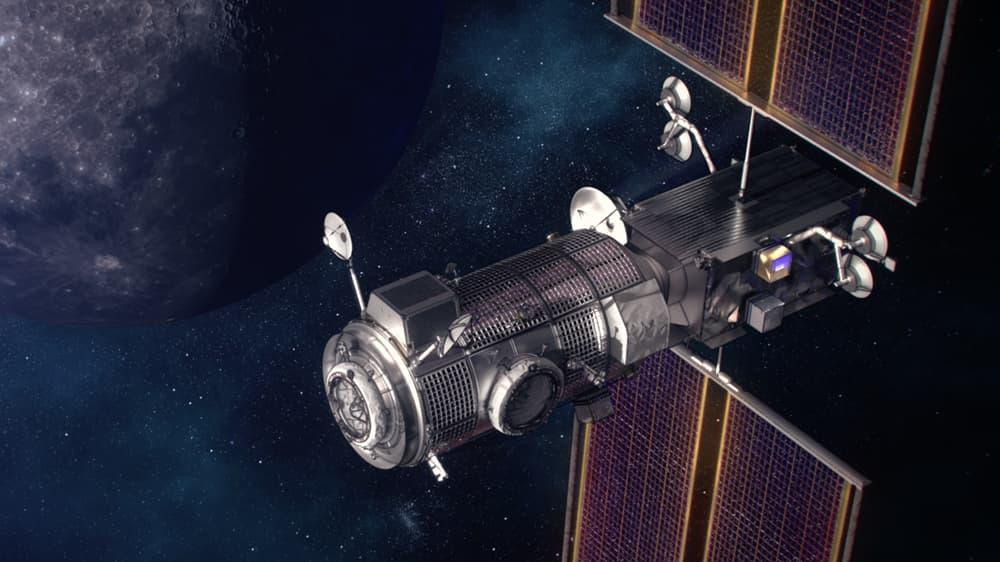Impresión artística de los dos primeros módulos de la estación – NASA