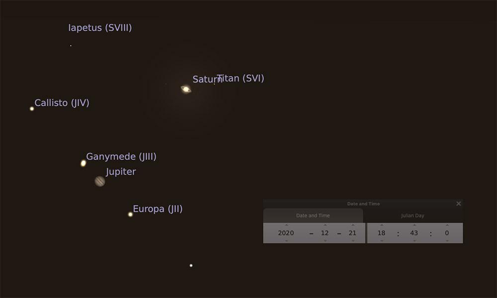 Gran conjunción de Júpiter y Saturno de diciembre de 2020 en Stellarium