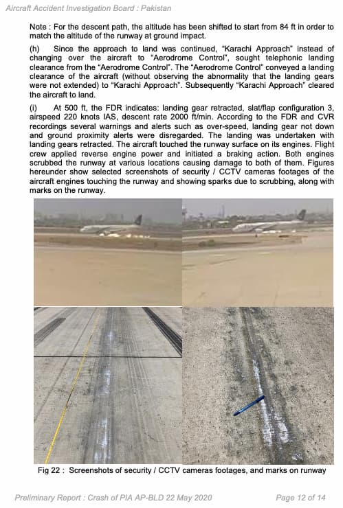 Pagina 14 del informe - AAIB Pakistán