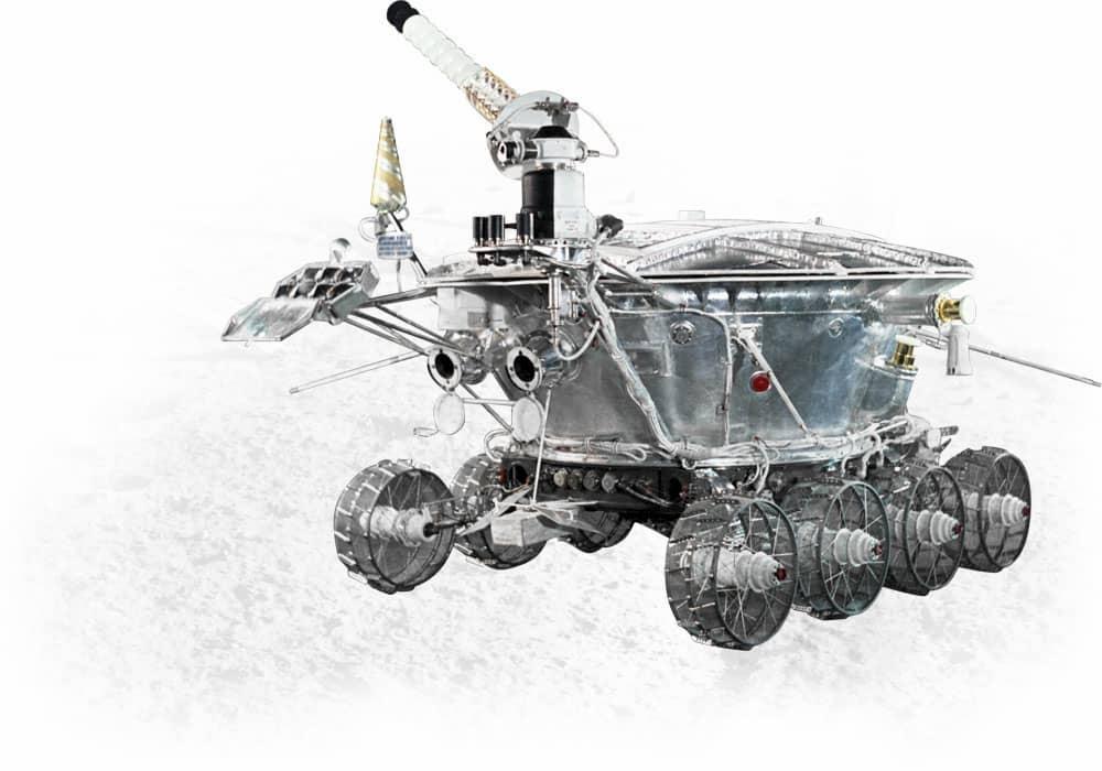 Impresión artística del Lunojod 1 en la Luna - Roscosmos
