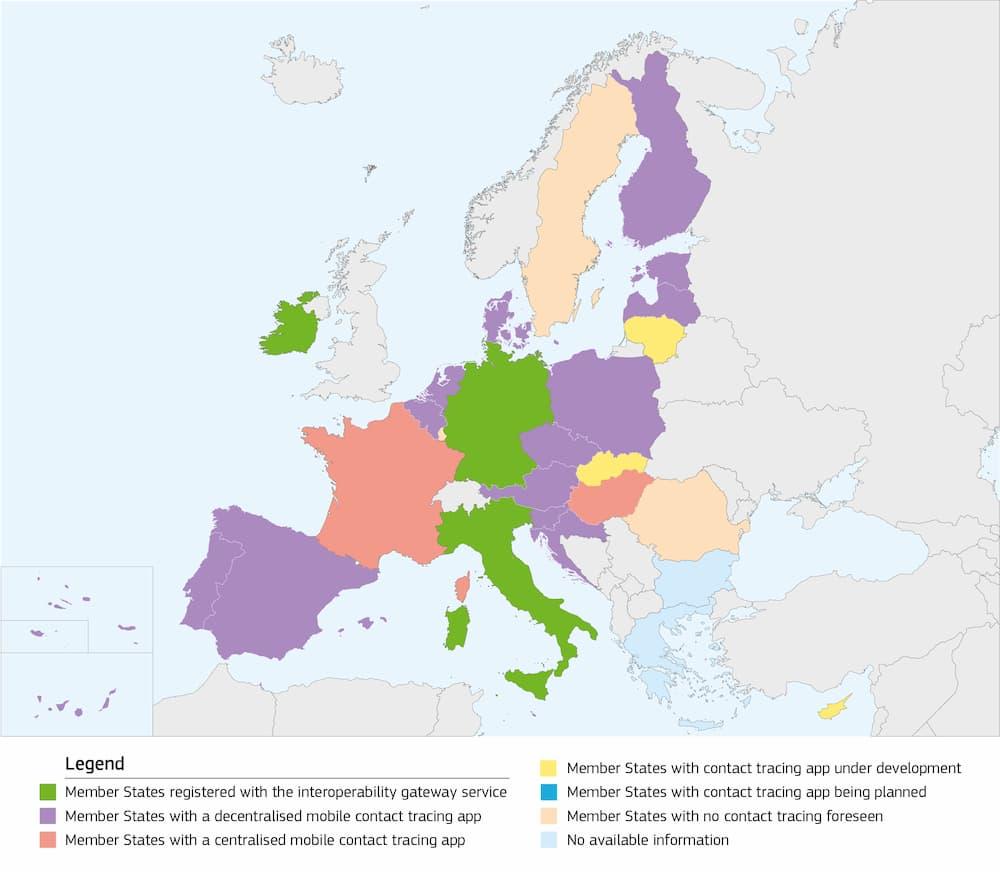 Estado de las apps de rastreo COVID en la Unión Europea