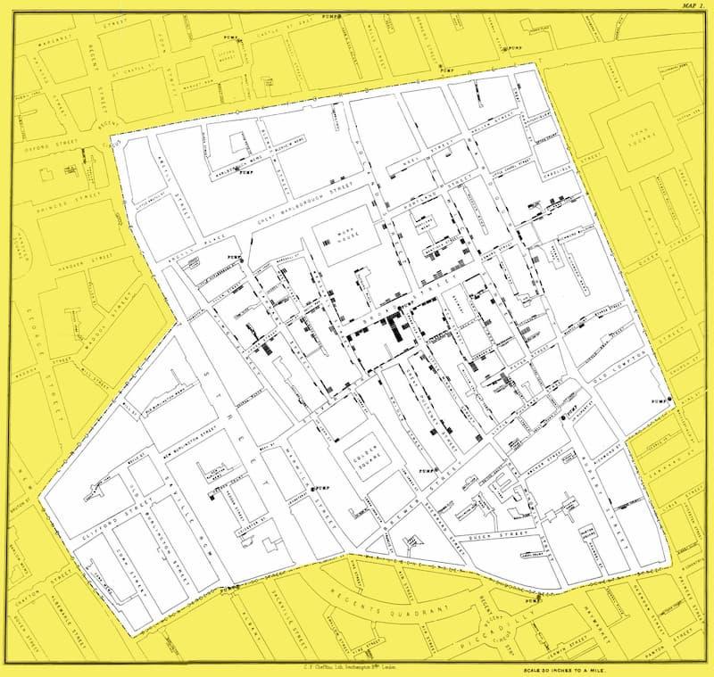 El mapa de John Snow en su versión de diciembre de 1854 – vía UCLA