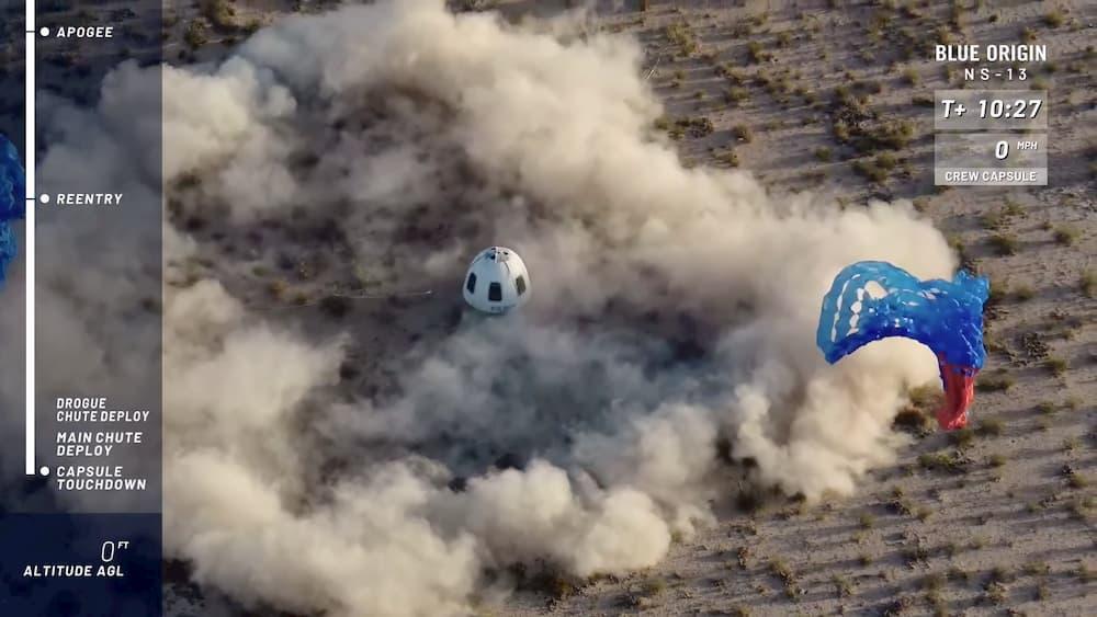 Aterrizaje de la cápsula - Blue Origin