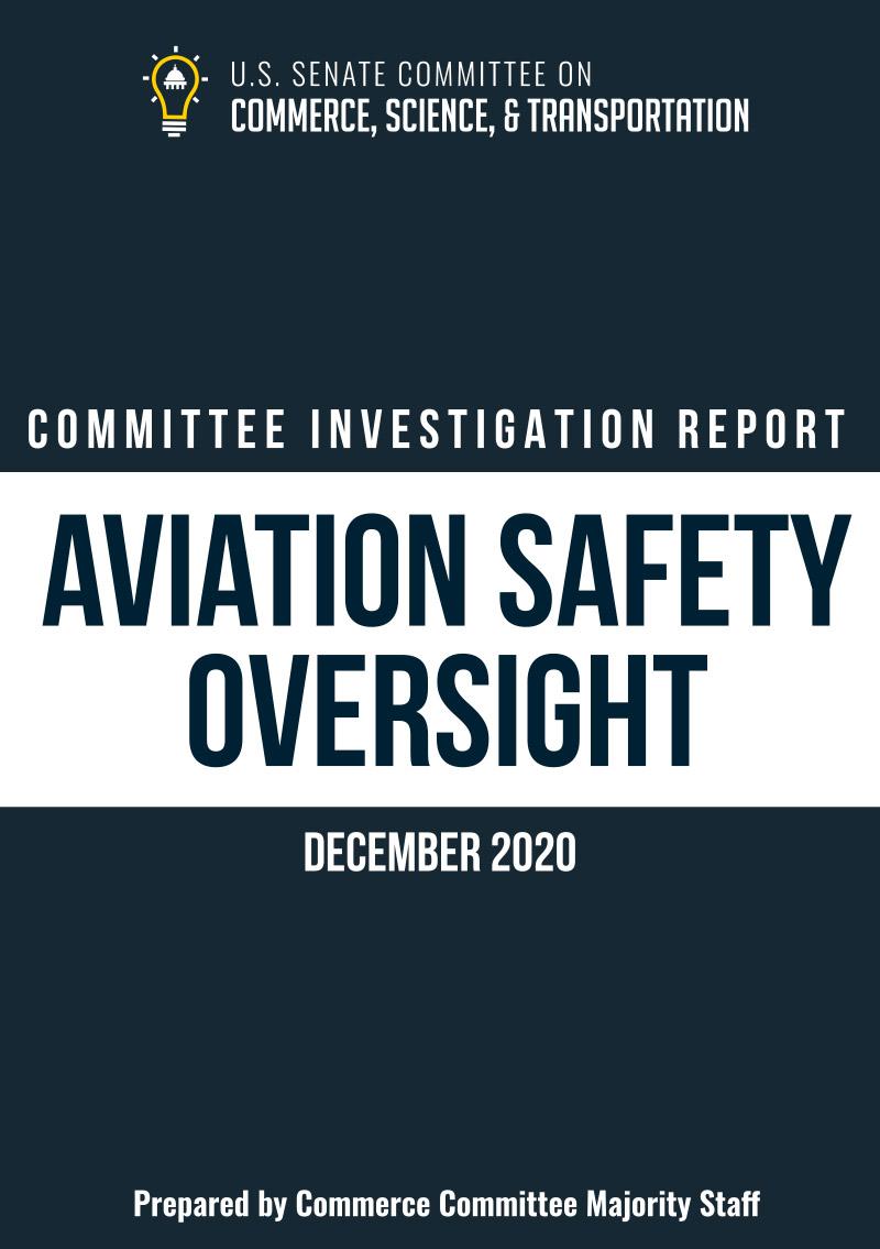 Portada del informe del Senado de los Estados Unidos sobre la FAA