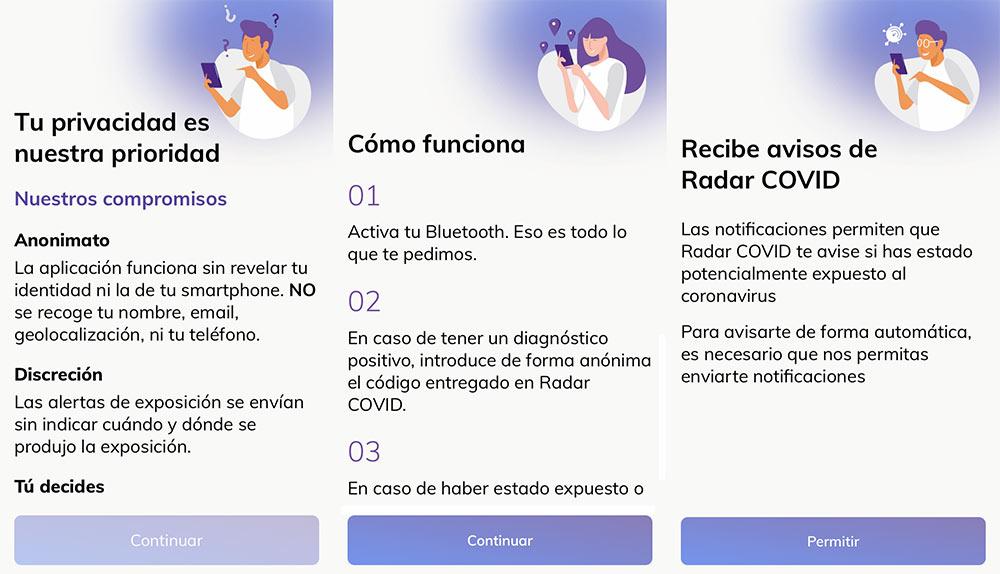 Algunos pantallazos de Radar Covid para iOS
