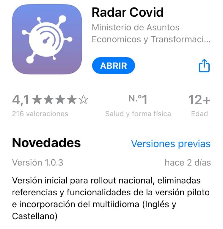La app oficial Radar Covid ya disponible para Android e iOS en versión para toda España