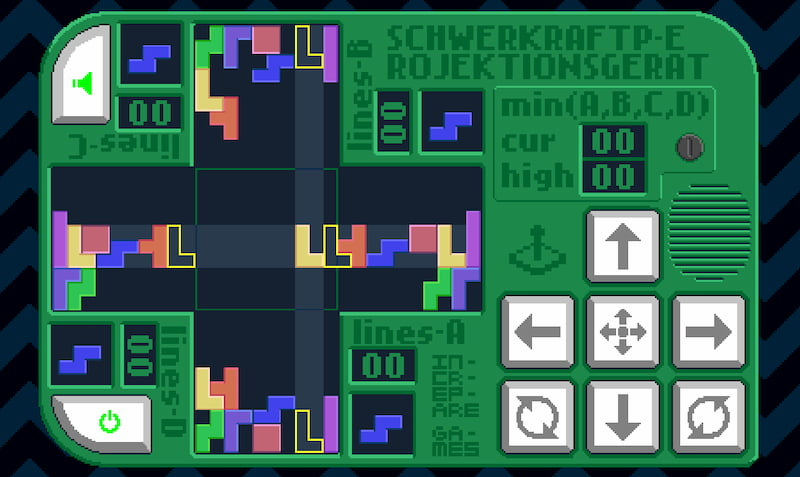 Schwerkraftprojektionsgerät, un Tetris por cuadruplicado
