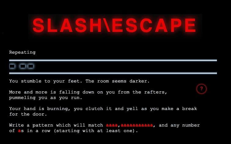 Slash\Escape: para aprender expresiones regulares (RegEx) en versión juego conversacional de escape
