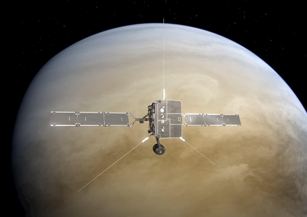 Impresión artística del Solar Orbiter sobrevolando Venus - ESA/ATG Medialab