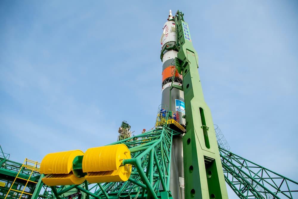La Soyuz MS-16 en la plataforma de lanzamiento – Roscosmos
