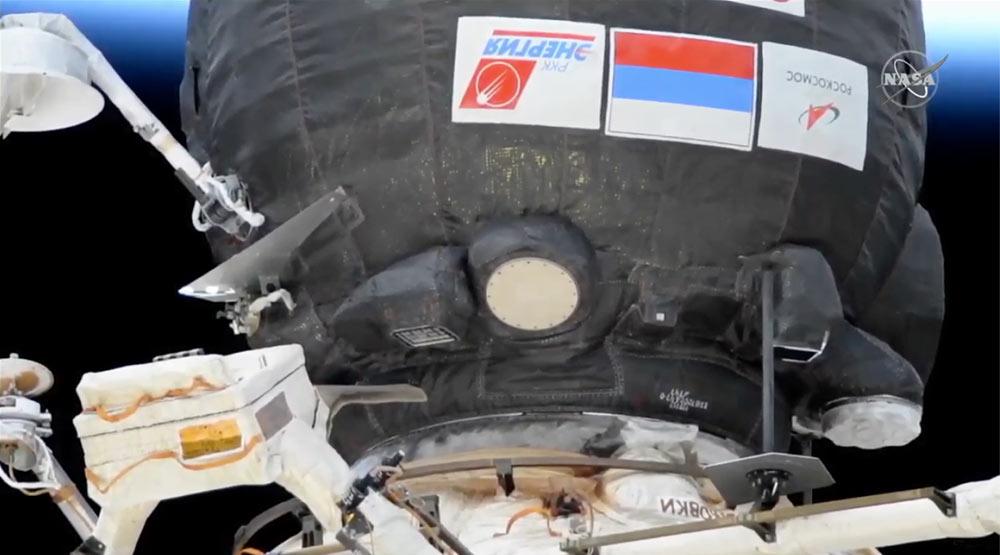 La Soyuz MS-17 recién atracada en la EEI - NASA TV