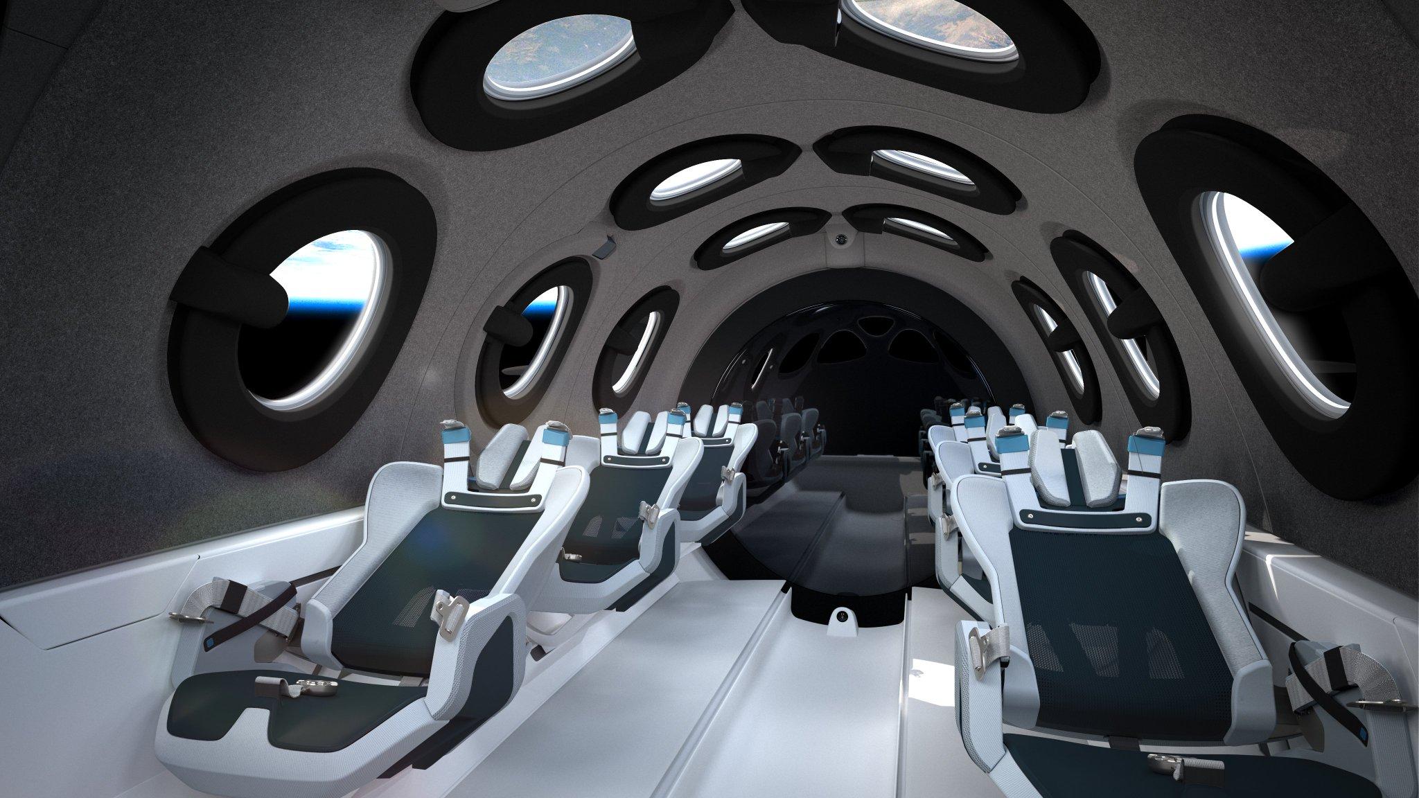 Interior de la cabina - Virgin Galactic