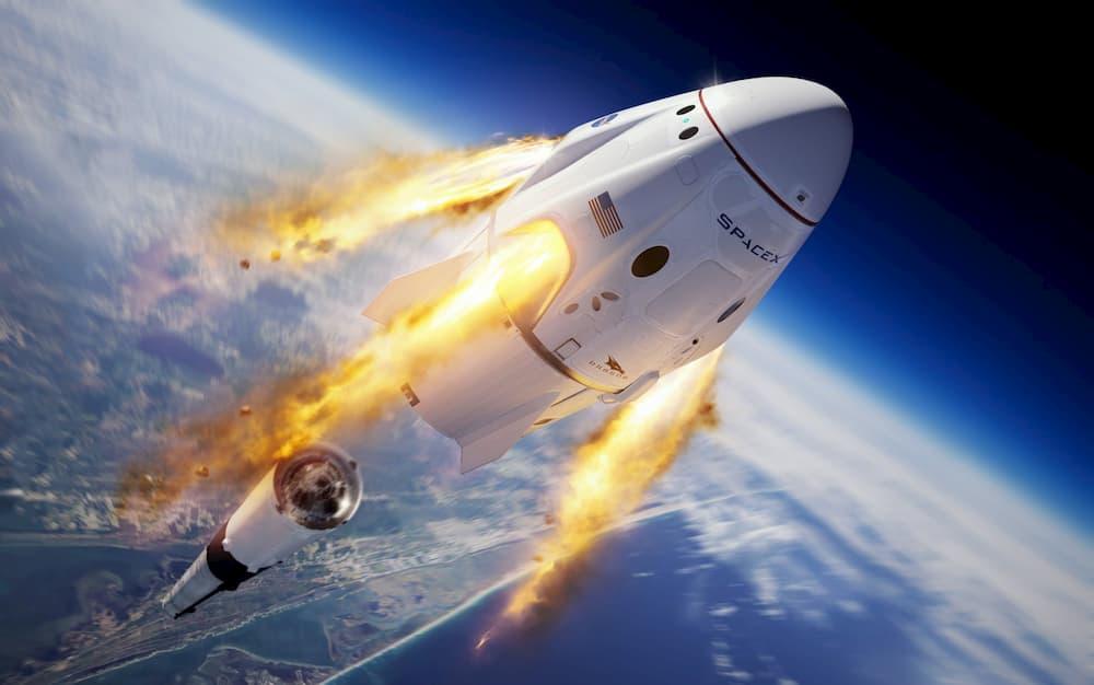 Impresión artística del momento de la activación del sistema de escape - SpaceX