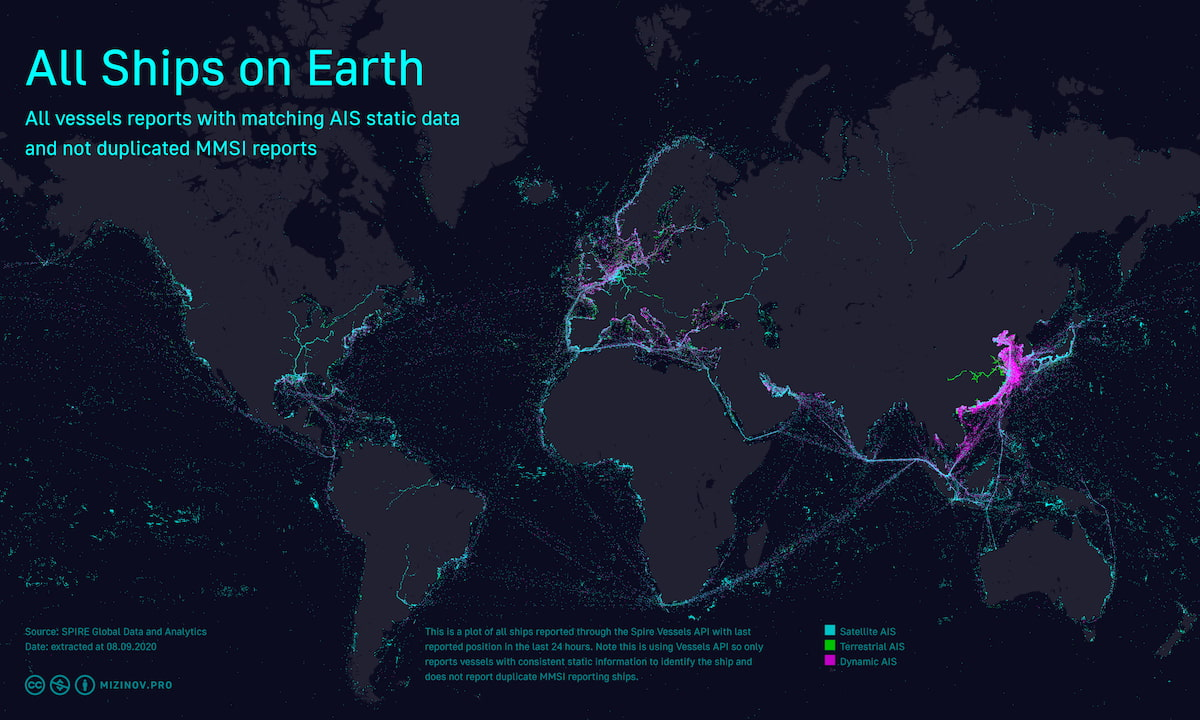 All ships on Earth (version 2 — more data, more accurate, 2020 year)