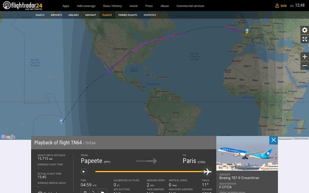 El vuelo en FlightRadar24.com