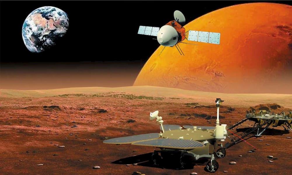 Impresión muy artística de los componentes de la misión – Wan, W.X., Wang, C., Li, C.L. et al. China's first mission to Mars. Nat Astron 4, 721 (2020)