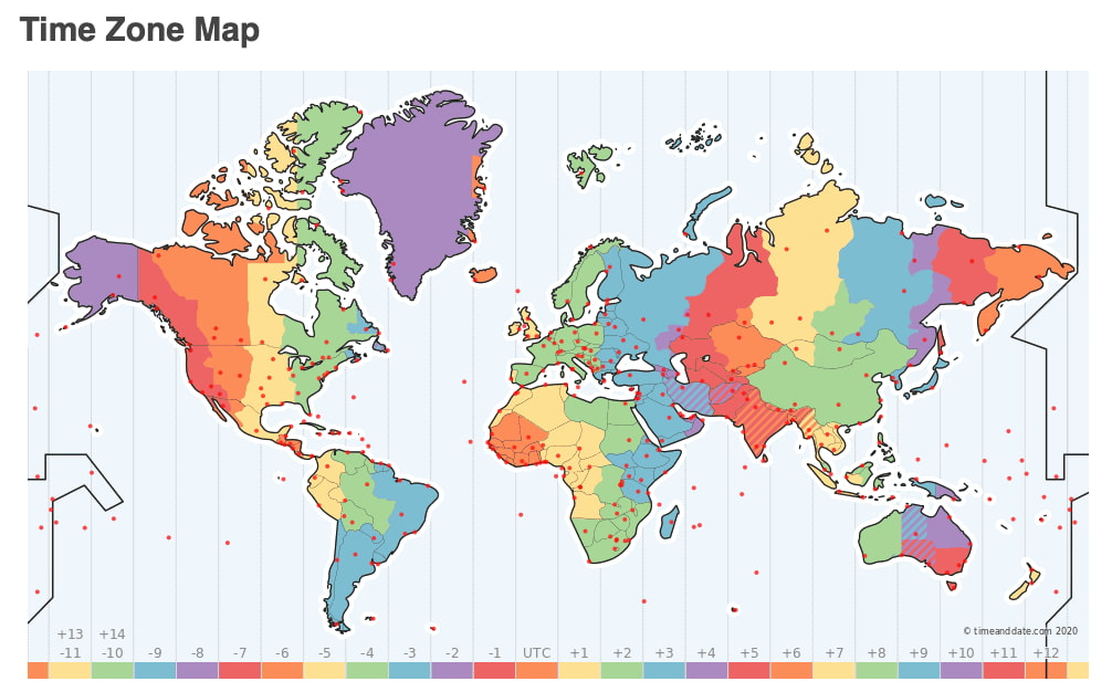 El mapa de los husos horarios
