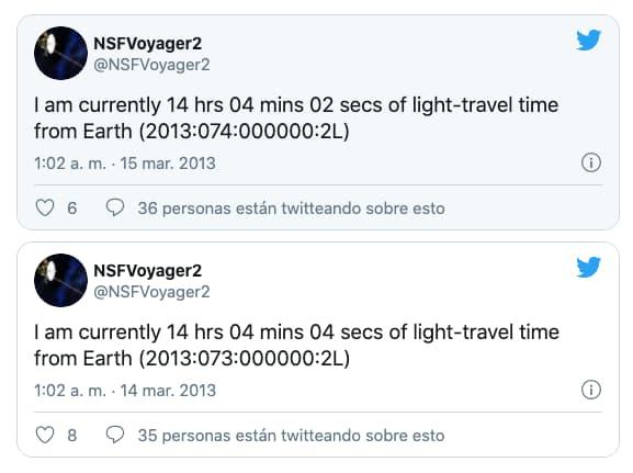 Tuits de la Voyager 2