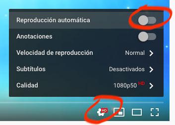 YouTube: desactivar la reproducción automática