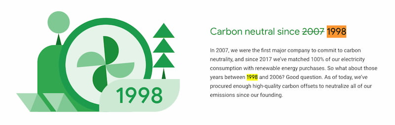 Google Carbon Neutral 1998