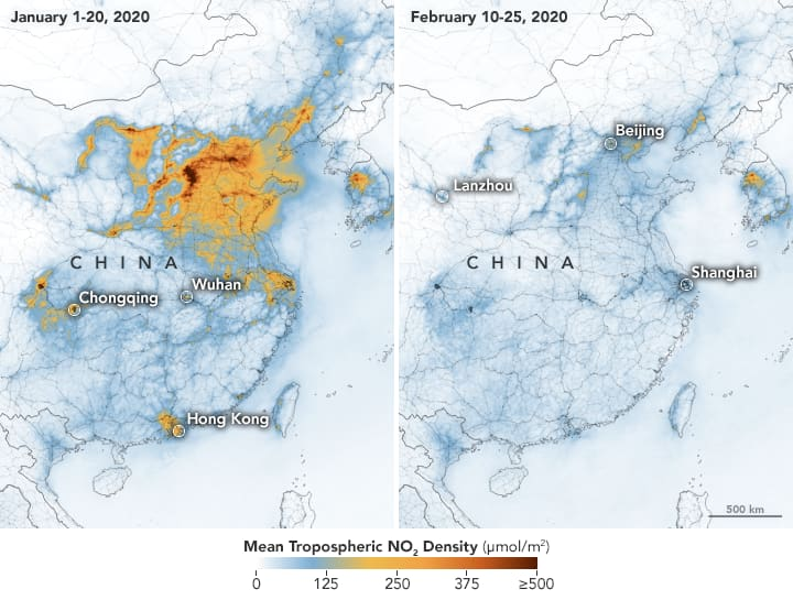 NASA / ESA - China Mean Tropospheric NO2 Density