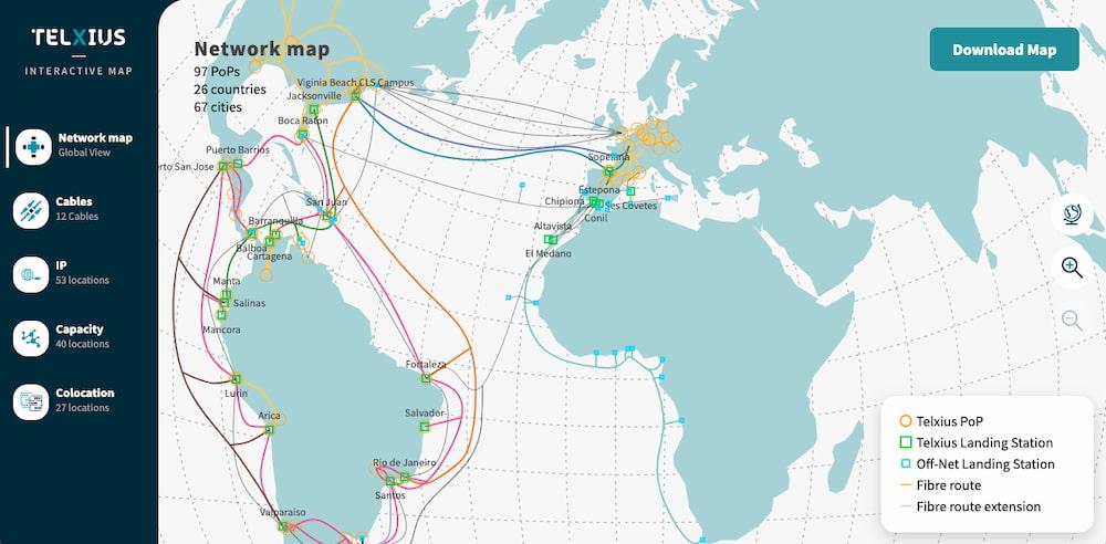 Telxius Network Map