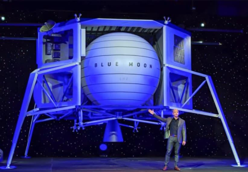 Jeff Bezos durante la primera presentación pública del concepto de módulo lunar de Blue Origin – Dave Mosher