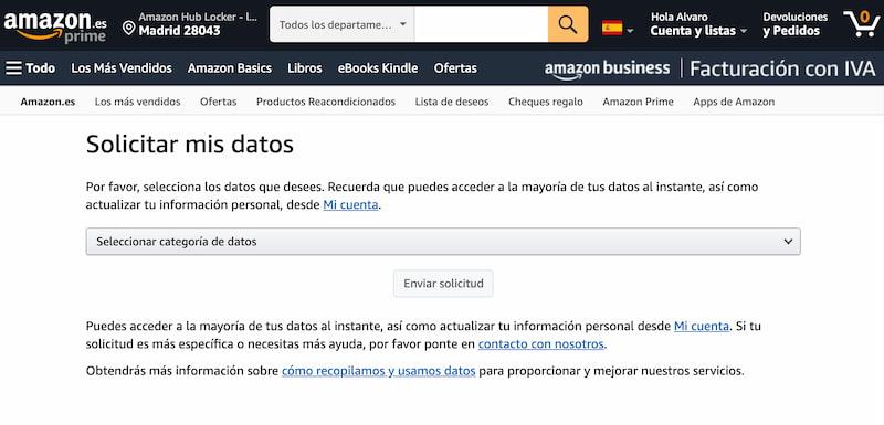 Amazon: solicitar datos