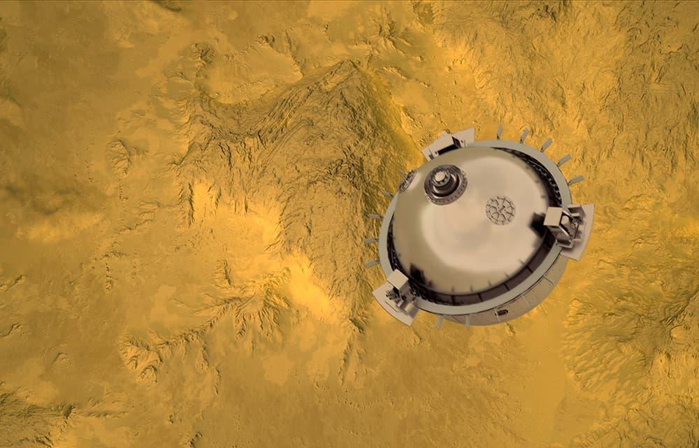 Impresión artística de Davinci+ durante su descenso – NASA
